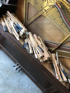 LOT of ALL piano keys in excellent antique condition- from a 1919 Miller piano- basket display in booth!