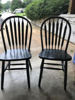Black Windsor style chairs