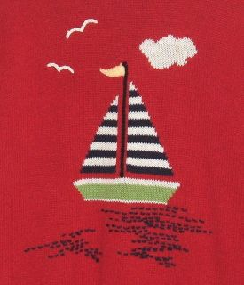 Sag Harbor FLAME RED Sail Boat Sport Theme Sweater Womens Medium 8 10