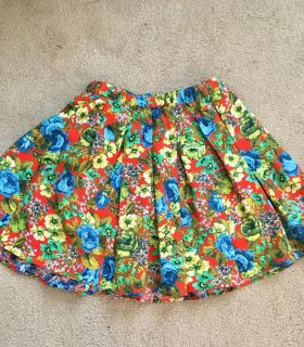 Bright colored floral high waisted pleated skirt