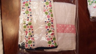 2 embroidered burp cloths
