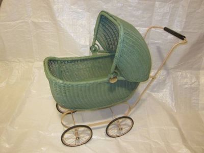 Lloyd Loom Products Wicker Doll Buggy Carriage Stroller ~ VINTAGE EXC