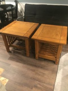 2 Heavy Solid Wood Mission Style End Tables
