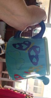 Watering can butterfly planter 7 by 5