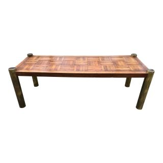 Mid Century Coffee Table Brass & Parquet by Lane
