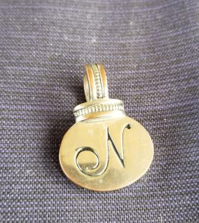 """Silver Tone Initial """"N"""" Double Sided Pendant"""