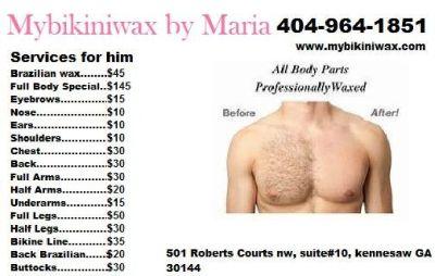 Brazilian Waxing Service (404)964-1851 or visit// www.mybikiniwax.com