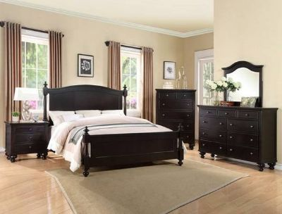 BRAND NEW! QUALITY WOOD BLACK QUEEN 4PC LARGE BED SET