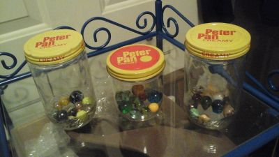 Vintage Peter Pan Peanut Butter jars Filled with Marbles