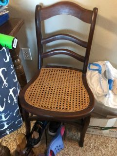 Set of four antique wicker and mahogany cane chairs