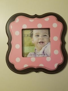 Pink polka picture frame