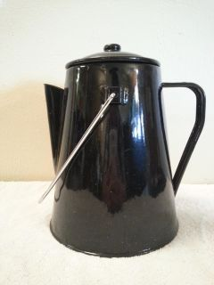 Black Enamel with White Speckles Coffee Pot