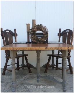 Dining Table Custom Built Top with four Chairs