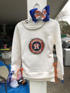 Custom Astros Sweaters and T-shirts with handmade Bow