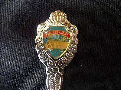Mississippi blue silver tone usa state collector souvenir spoon travel