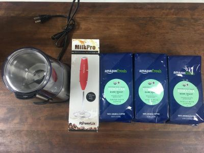 Organic fair trade whole bean coffee brand new grinder and milk frother