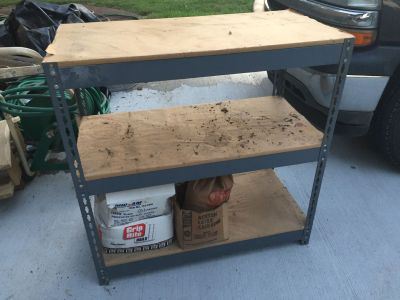 Industrial Metal & Wood Shelving Unit - First to Pick up Gets It - We will be there Today from 10:00 till Noon **2 Available **Priced Each