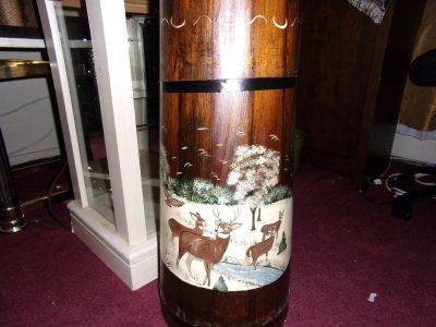 Wood Decorated Deer & Snow UMBRELLA CANE STORAGE Stand Rack Holder