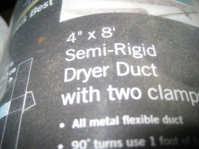 """DRYER DUCT AUMINUM 4"""" X 8' WITH 2 CLAMPS"""