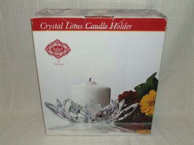 Shannon Crystal Lotus Candle Holder New by Godinger