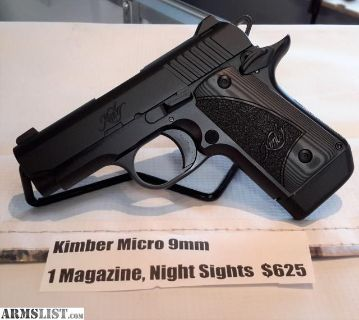 For Sale: NEW Kimber Micro 9mm, 1 Magazine & Night Sights