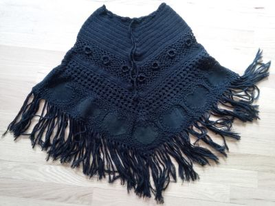 Boutique Hand-Knit Poncho with Brushed Suede Heart Appliques
