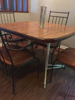 Kitchen table and iron chairs
