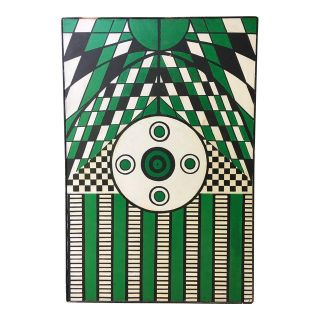 Vintage Abstract Geometric Painting in Green