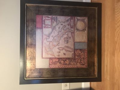 Framed art dark wood frame