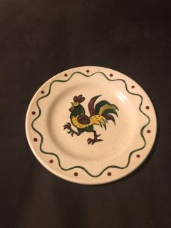 Decorative Rooster Plate - by California Proven al - Hand Painted - 6 1/2 across