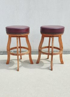 Excellent Solid Wood Thick Cushioned Swiveling Bar Stools
