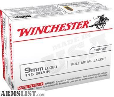 For Sale: Winchester Ammo USA9MMVP Best Value USA 9mm FMJ 115 GR 100Box/10Case
