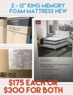 2 - king size 12 memory foam mattress