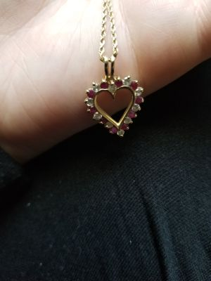 Real Ruby Heart Necklace