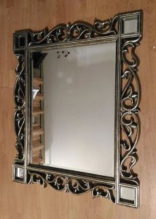 Vintage (Antique) Burnished Gold Vines Wall Mirror in Wood Frame 37x31