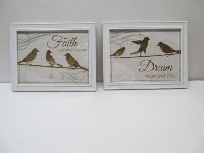 Set of 2 Frames with Birds & Inspirational Sayings $4 Both