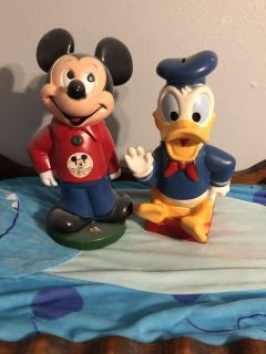 Vintage Mickey and Donald Piggy Banks