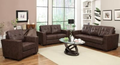 2 pc Enright Brown Sofa and Love Seat Loose, Tufted Back Cushions and Track Arms