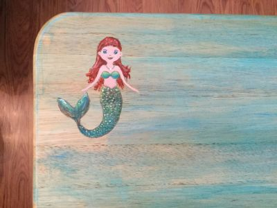 Sweet Mermaid Folding TV Tray. Solid wood tray is softly washed with color, then hand painted. Pickup near Innsbrook.
