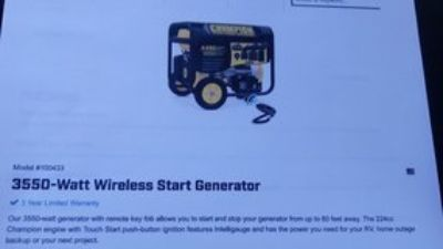 Champion 3550 watt wireless start Generator