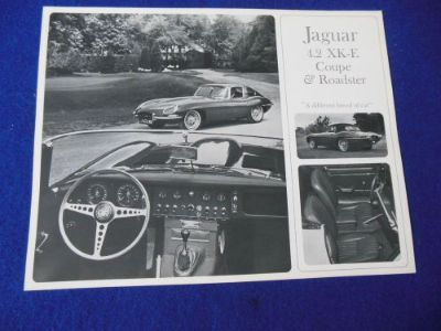 Buy NOS Jaguar XKE 4.2 Roadster Coupe Black and White Single Page Brochure motorcycle in North Haven, Connecticut, United States