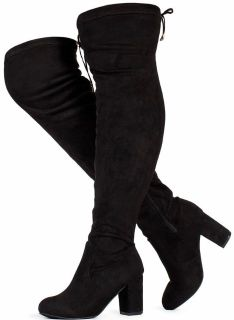 New Women's Over The Knee Block Chunky Heel Stretch Boots (Medium and Wide Calf) Size 8