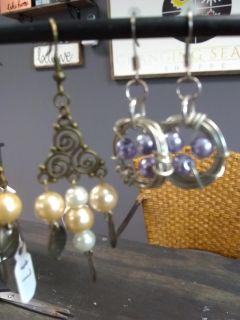New with tags purple pearl and wrapped wire handmade earrings