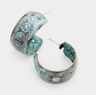 Brand New Western Turquoise Blasted Hoops