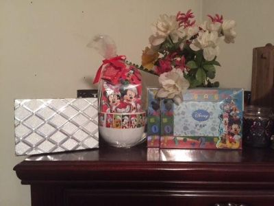 """*REDUCED* BRAND NEW """"Mickey Mouse"""" XL Christmas Mug with coco, hot chocolate, silver box & (2) M.M. photo frames $12.00"""