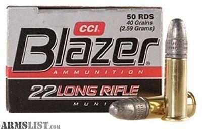 For Sale: CCI 0021 Blazer 22LR Lead Round Nose 40GR 50 Per Box/100 Per Case.no taxes,no credit card fees.