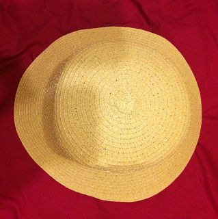 NEVER WORN Golden Ivory Light Nude Straw Hat...MORE INFO