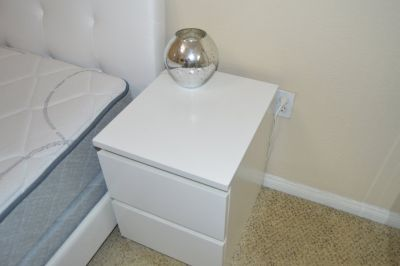 Queen Bed with Nightstands and Lamps