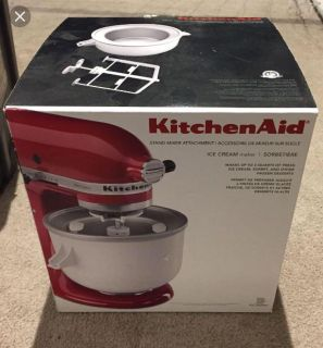 Brand new in box Ice cream attachment for kitchen Aid mixer. NOT the MIXER! Asking $95