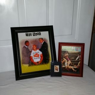 Boxing great champs. Joe Louis stamp, Jack Demsy old card in frame. 8 by 10 Frazier, Forman & Ali. All for $6